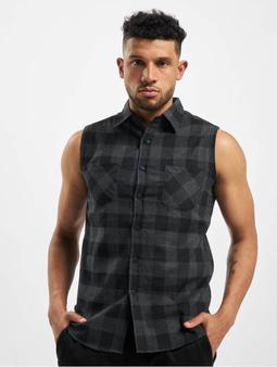 Urban Classics Sleeveless Checked Flanell Shirt Black/Charcoal
