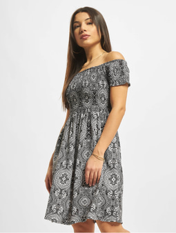 Urban Classics Smoked Off Shoulder Dress Black
