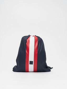 Urban Classics Striped Gym Bag Navy/Fire Red/White