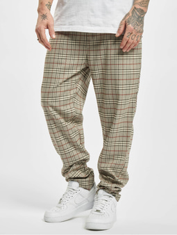 Urban Classics Tapered Check Jogger Pants Sand
