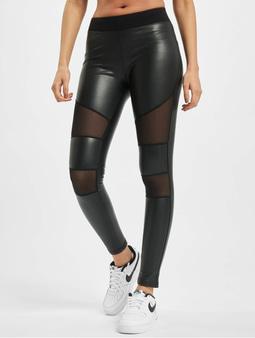 Urban Classics Tech Mesh Faux Leather Leggings Black