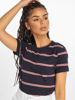 Urban Classics Yarn Dyed Skate Stripe Cropped T-Shirt Midnightnavy/Red