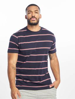 Urban Classics Yarn Dyed Skate Stripe T-Shirt Midnightnavy/Red