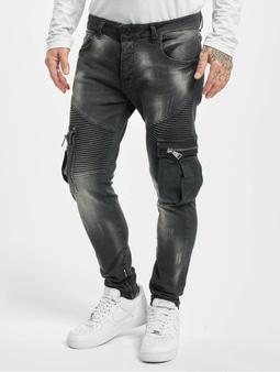 Vsct Clubwear Knox Biker Cargo Skinny Jeans Black Rinsed