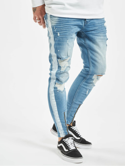 VSCT Clubwear Thor With Stripe Slim Fit Jeans Bleached Slashed Stripe