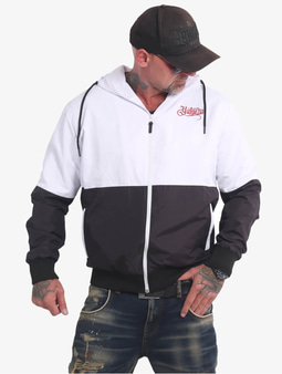 Yakuza Indian Skull Windbreaker Transition Jacket Black/White