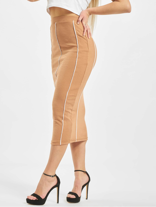 Missguided Contrast Seam Midi Coord Skirt Camel image number 0