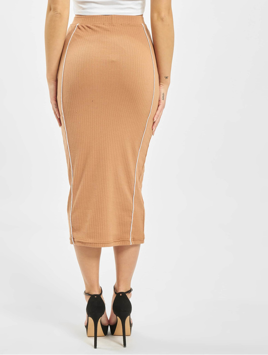 Missguided Contrast Seam Midi Coord Skirt Camel image number 1