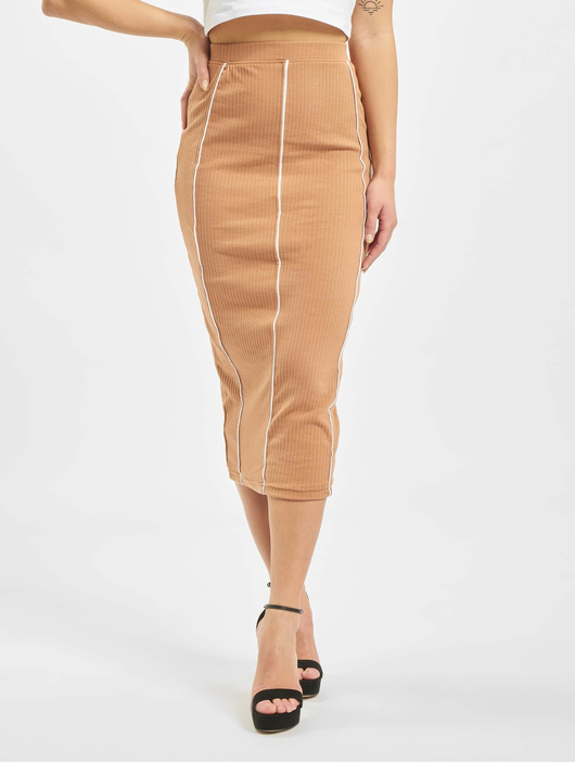 Missguided Contrast Seam Midi Coord Skirt Camel image number 2