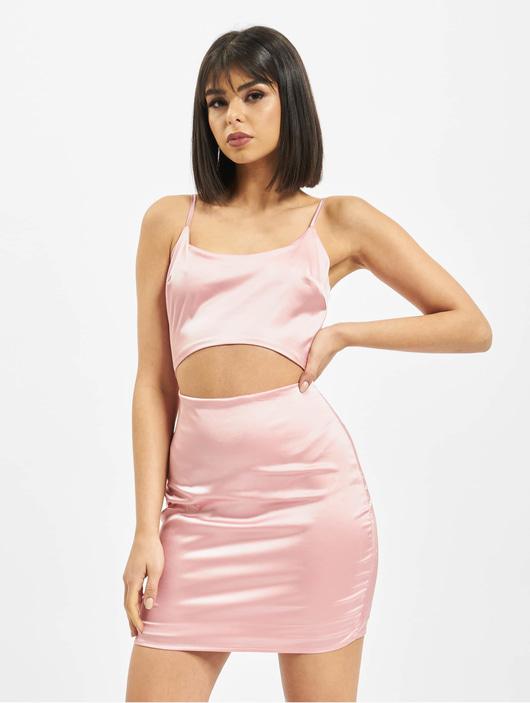 Missguided Damen Kleid Cut Out Stretch Satin in rosa 716255
