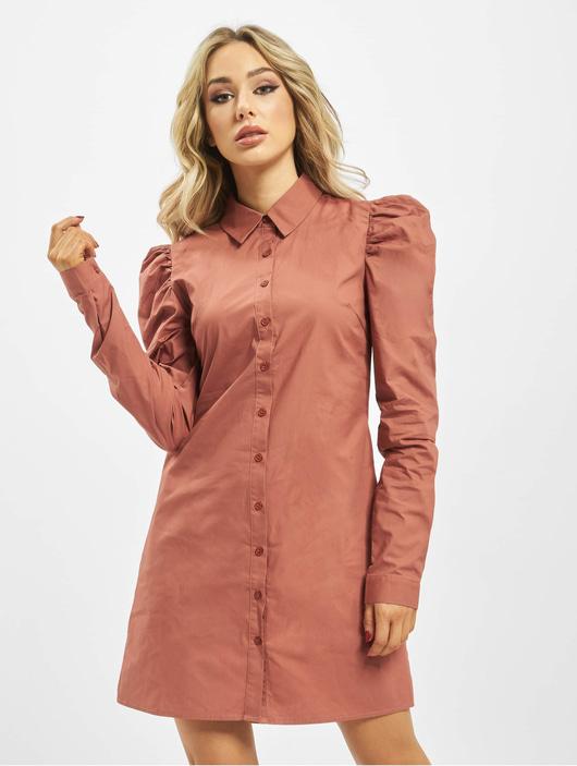 Missguided Damen Kleid Cotton Poplin Puff Sleeve in rosa ...