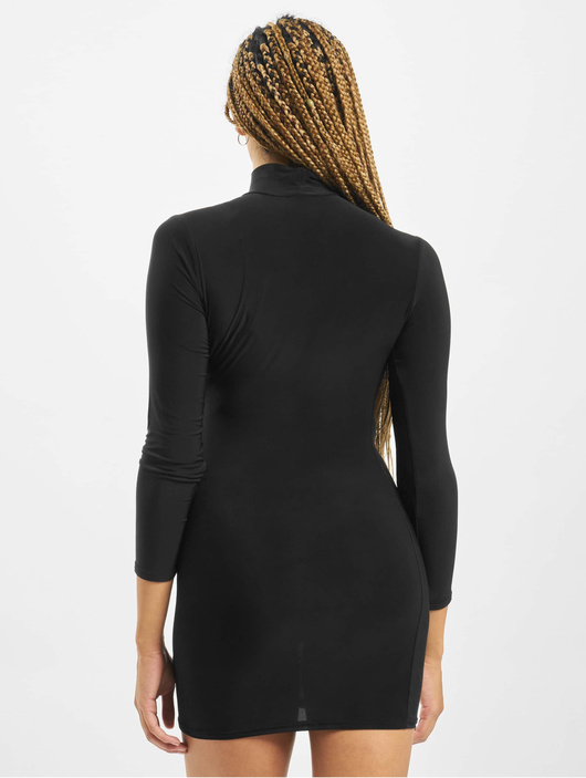 Missguided Petite High Neck Rouched Mini Dress Black image number 1
