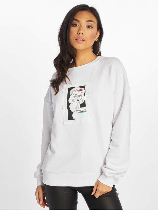 Na Kd Front Print Oversized Sweatshirt White