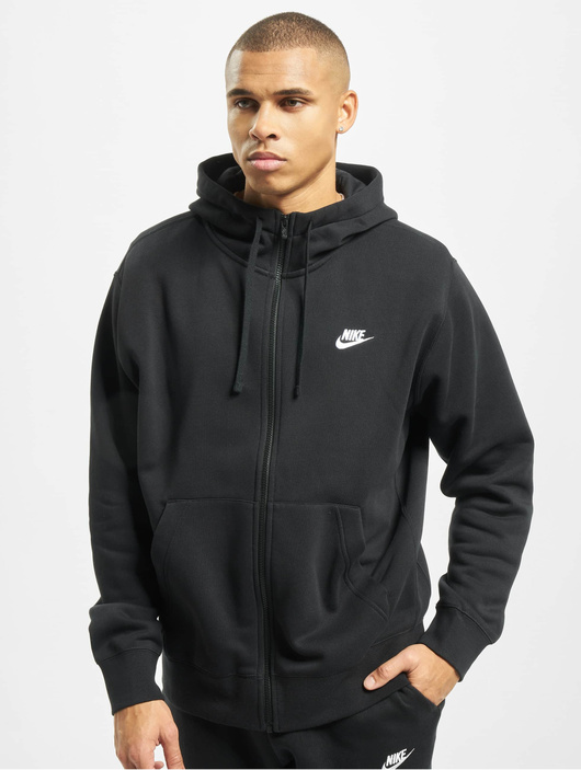 Nike Club Hoodie Full Zip BlackBlackWhite