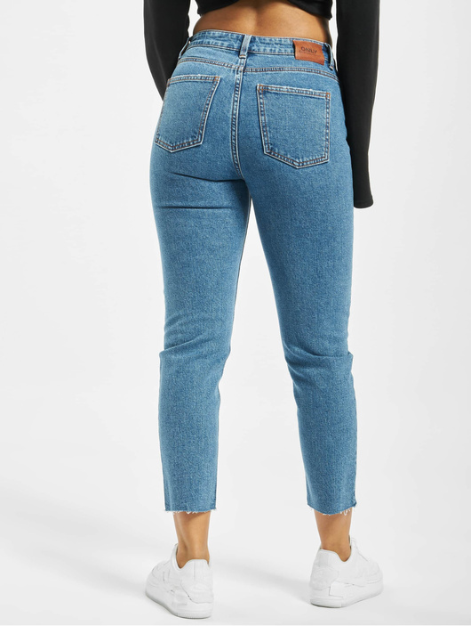 Only onlEmily High Waist ST Raw Noos Jeans Dark Blue Denim image number 1