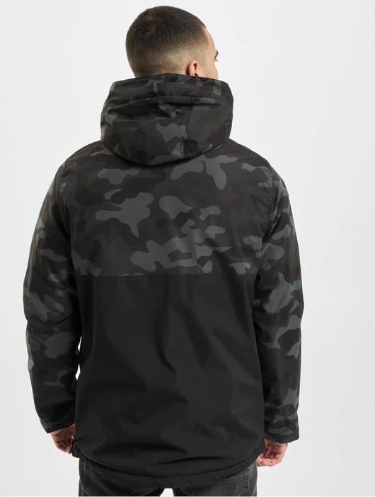 Urban Classics Camo Mix Pull Over Jacket Black/Snow Camo image number 1