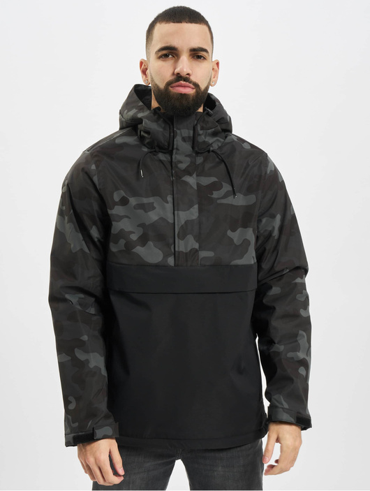 Urban Classics Camo Mix Pull Over Jacket Black/Snow Camo image number 2