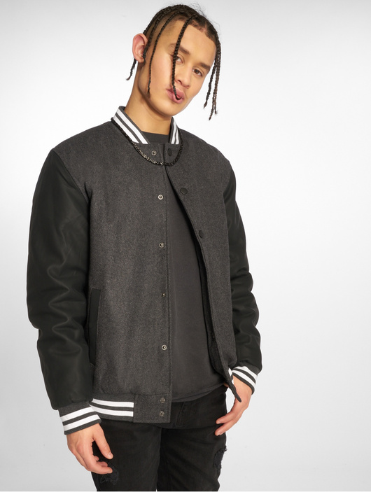 Urban Classics Oldschool 2.0 College Jacket Charcoal/Black/White image number 0
