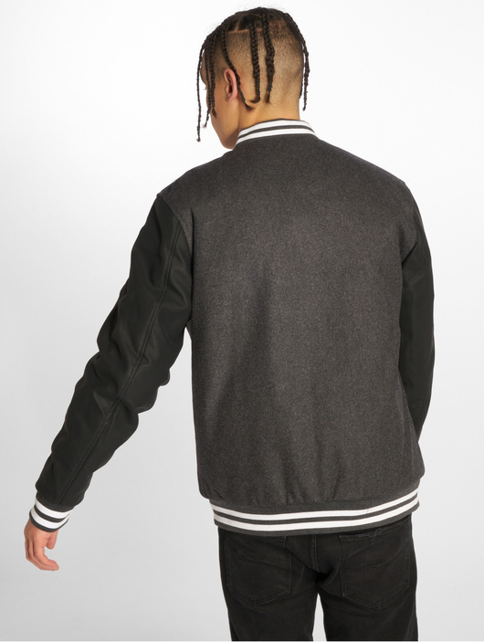 Urban Classics Oldschool 2.0 College Jacket Charcoal/Black/White image number 1