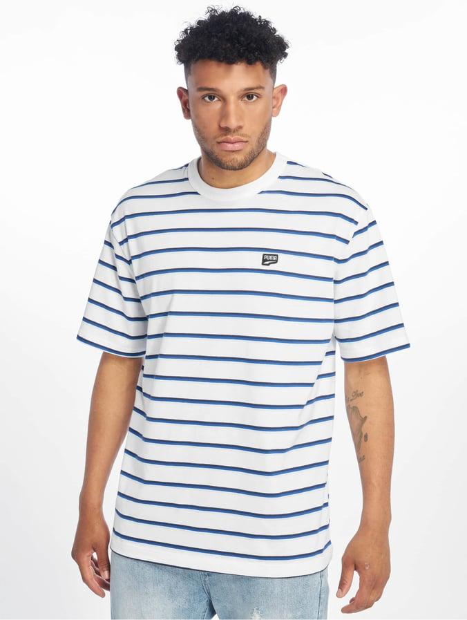 T Puma Downtown Shirt White Stripe b6vfgYy7