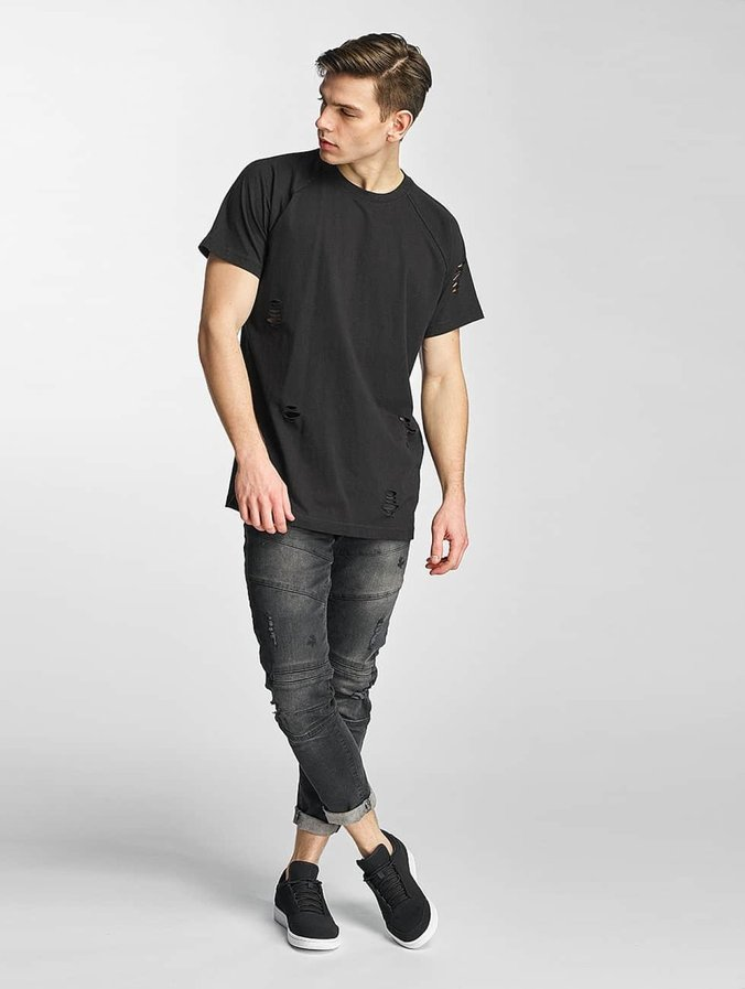 Urban Classics Ripped Raglan T Shirt Black