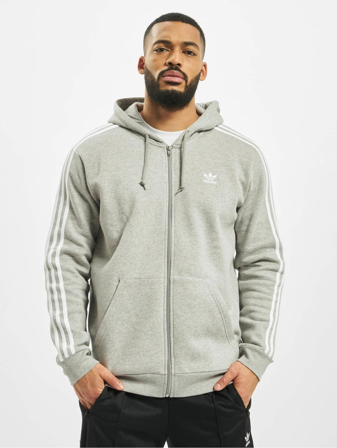 Adidas 3 Stripes Full Zip Hoody Medium Grey Heather