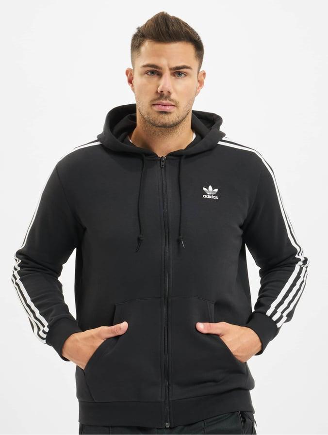 Adidas 3 Stripes Full Zip Hoody Black