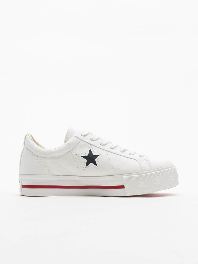 Converse One Star Platform Ox Sneakers White/Dark Obsidian/Gym Red