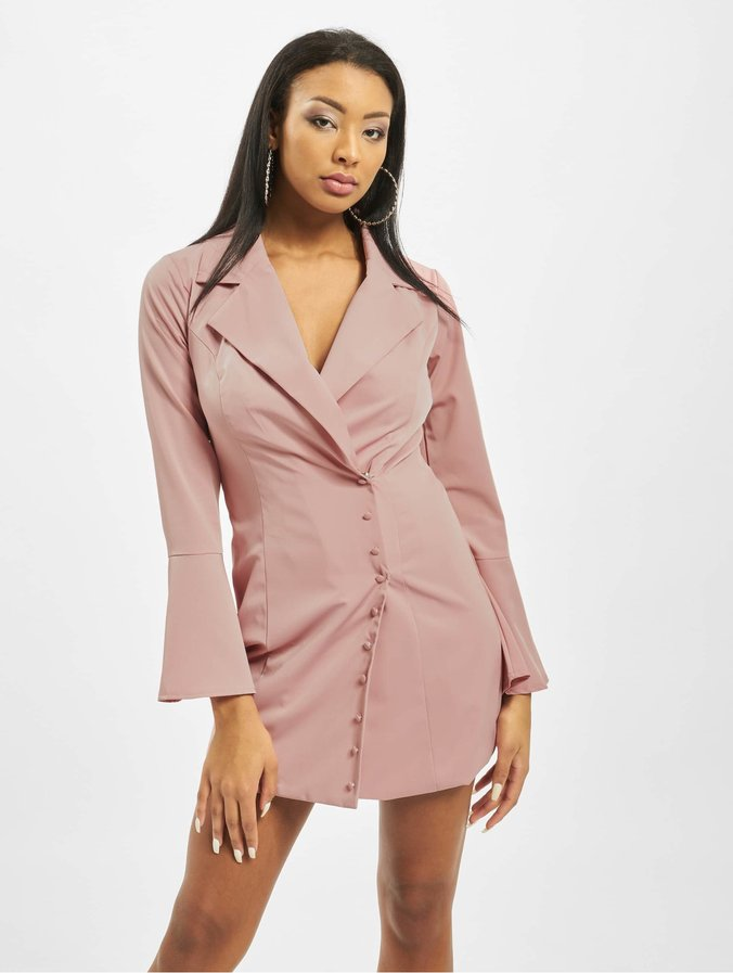 Missguided Asym Button Side Blazer Dress Blush