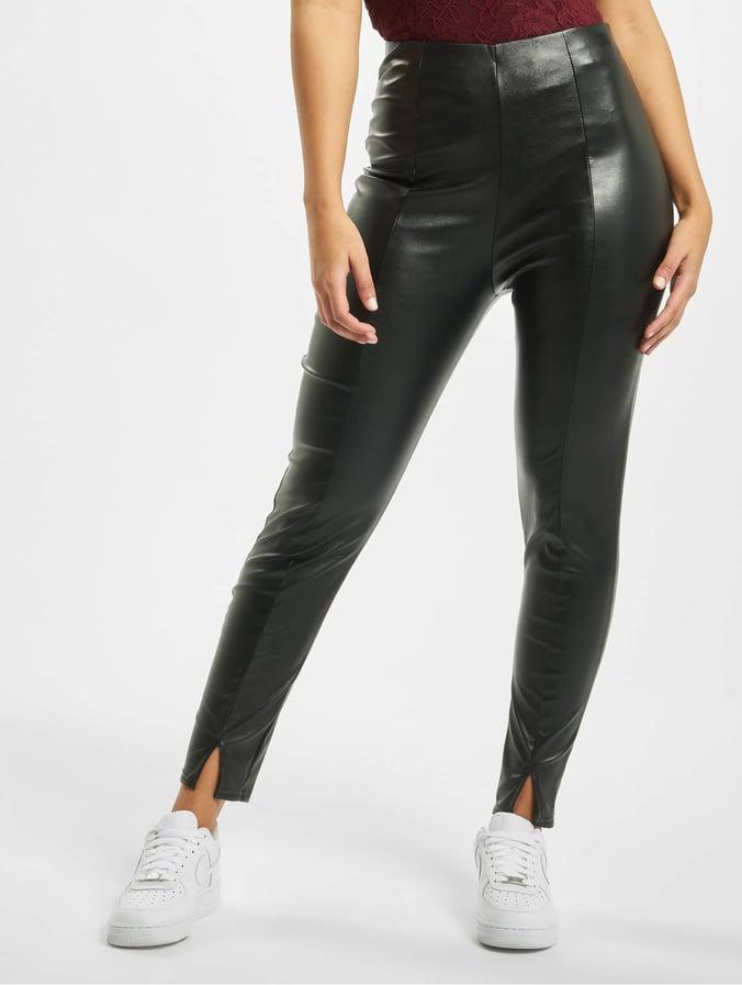 Missguided Faux Leather Split Front Leggings Black
