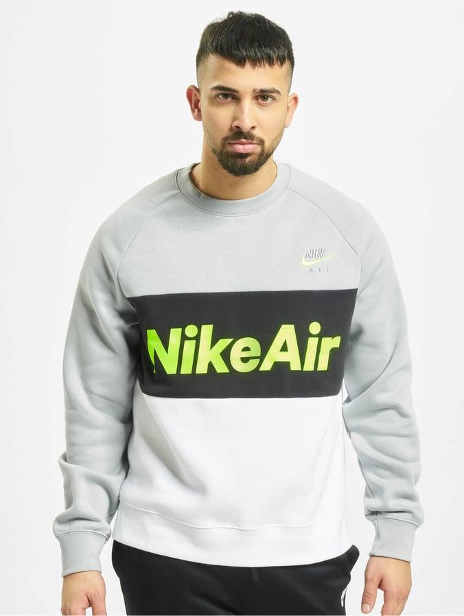 Nike Air Crew Fleece Sweatshirt Lt Smoke GreyWhiteBlackVolt