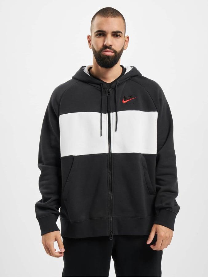Nike Air Full Zip Fleece Hoodie BlackWhiteBlackUniversity Red