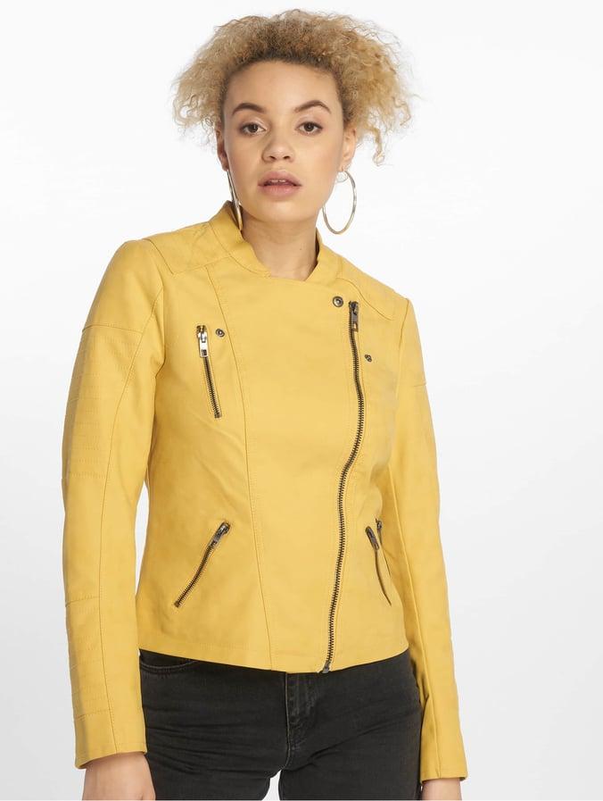 nouveau concept 5d5c2 3f267 Only onlAva Faux Leather Biker NOOS Jacket Yolk Yellow