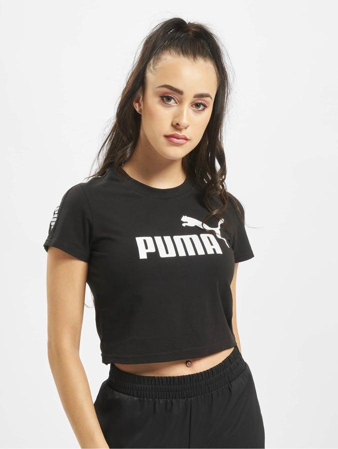 Puma Damen T Shirt Amplified Logo Fitted in schwarz 697176