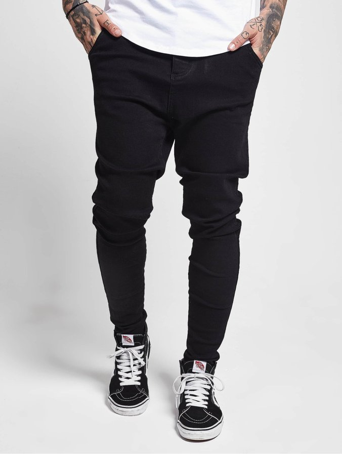Sik Silk Drop Crotch Slim Fit Jeans Washed Black