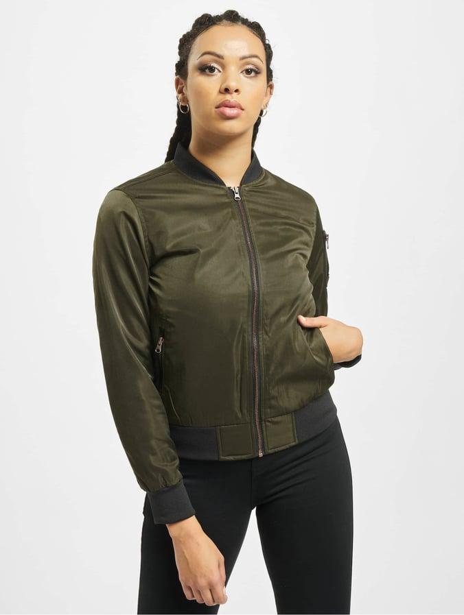 Urban Classics Ladies Nylon Twill Bomber Jacket Dark OliveBlack