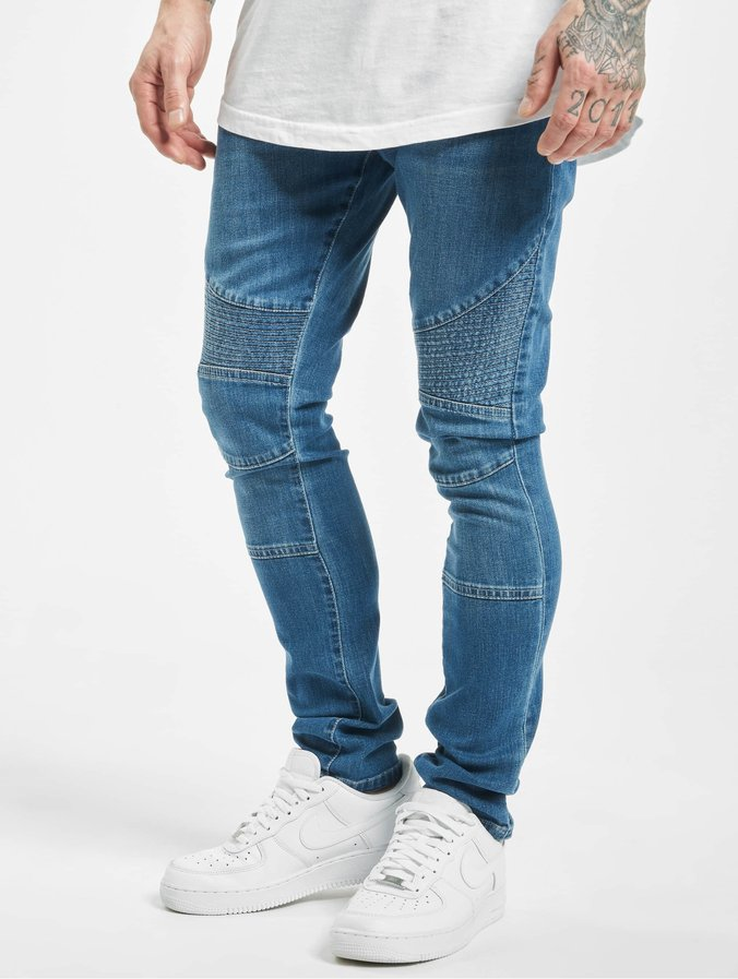 Urban Classics Slim Fit Biker heren jeans broek washed blauw