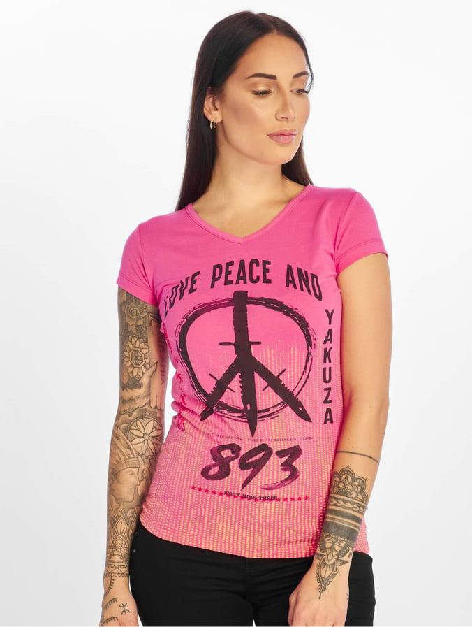 Yakuza Damen T-Shirt Kurzarmshirt Shirt V-Ausschnitt Tee Motiv GSB13129