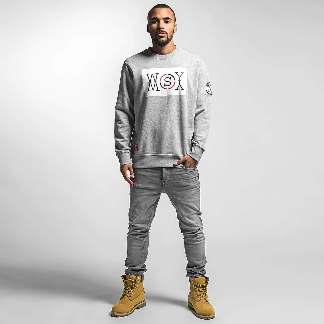 Who Shot Ya? Swetry Logo szary