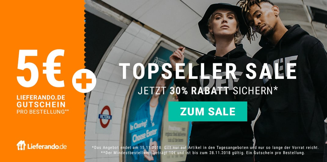 topseller sale und lieferando gutschein unisex