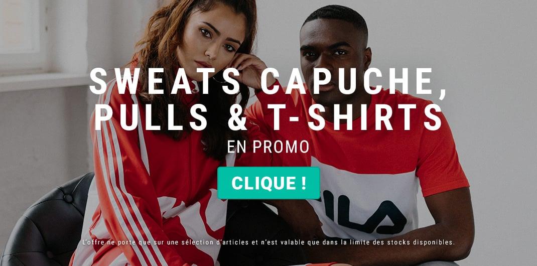 sweats capuche pulls t-shirts en promo unisexe