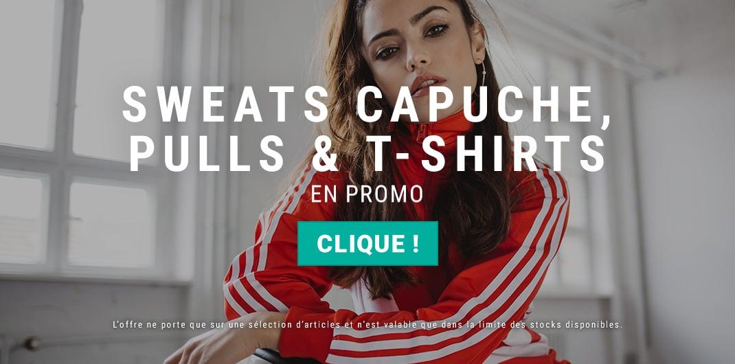 sweats capuche pulls t-shirts en promo femme