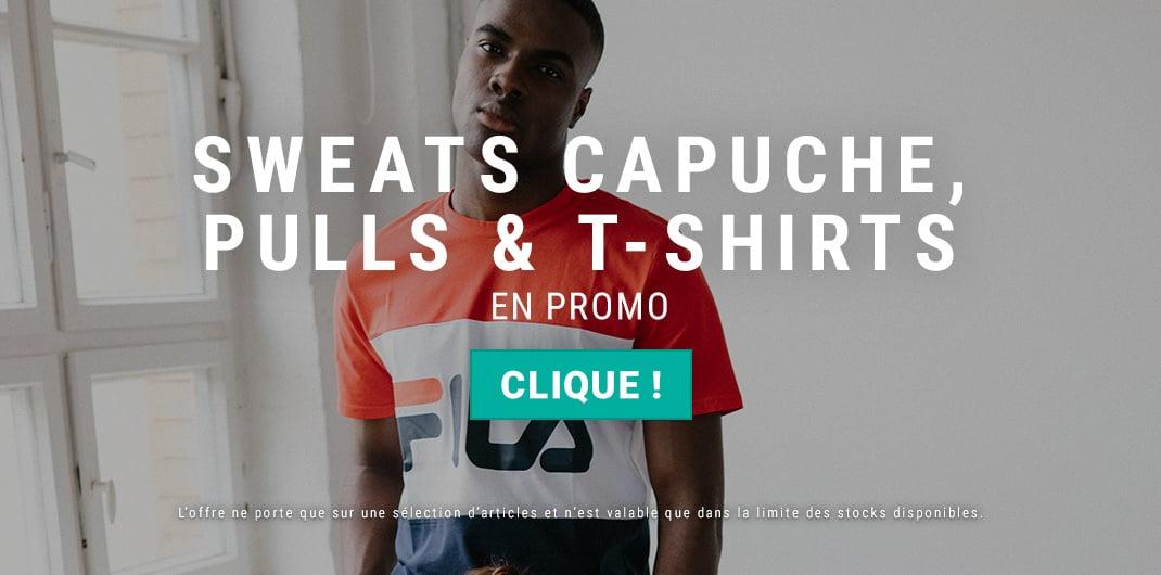 sweats capuche pulls t-shirts en promo homme