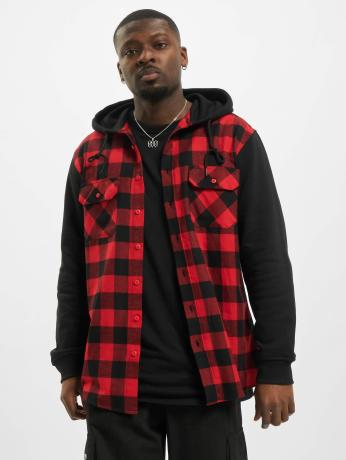 urban-classics-manner-hemd-hooded-checked-flanell-sweat-sleeve-in-rot