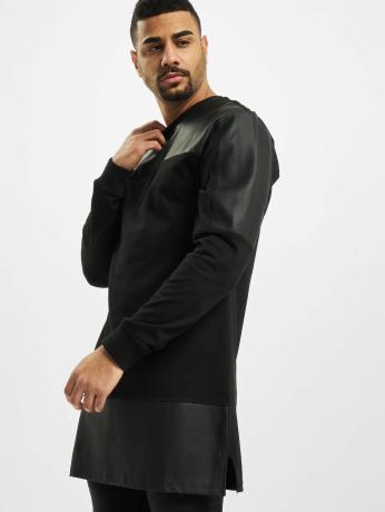 urban-classics-manner-longsleeve-leather-imitation-block-in-schwarz