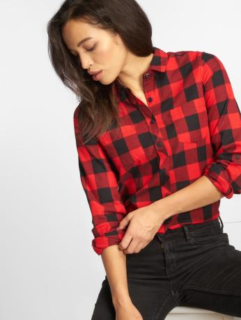 urban-classics-frauen-bluse-ladies-turnup-checked-flanell-in-rot
