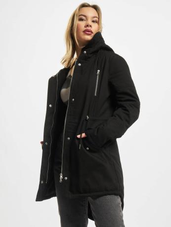 urban-classics-frauen-winterjacke-ladies-sherpa-lined-cotton-in-schwarz