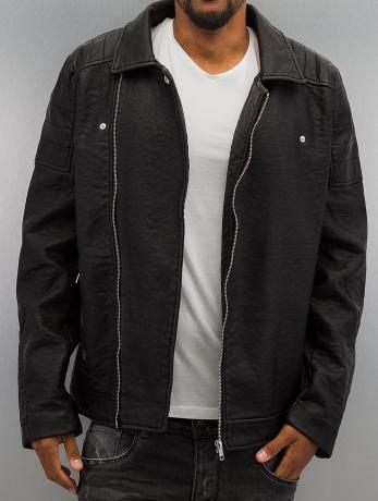 urban-classics-manner-ubergangsjacke-leather-imitation-biker-in-schwarz