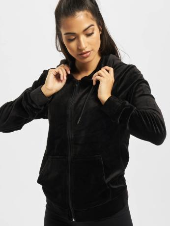 urban-classics-frauen-zip-hoodie-ladies-velvet-in-schwarz