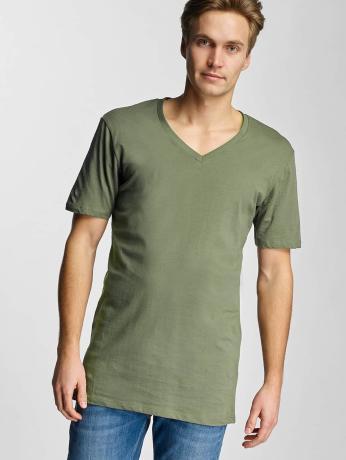 urban-classics-manner-t-shirt-basic-v-neck-in-olive